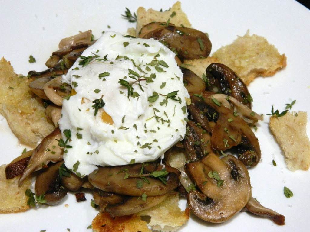Poached egg topping