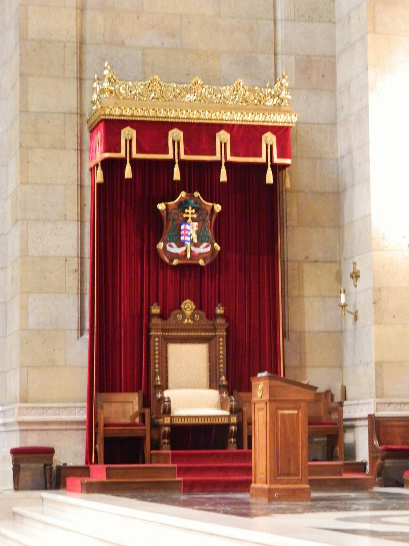 The Bishop's Throne on the left side of the alter in the Cathedral