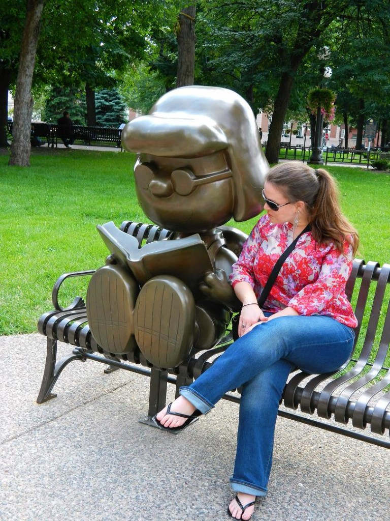 Getting a book recommendation at Rice Park, St. Paul, MN