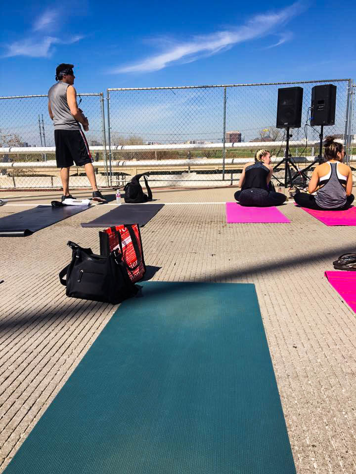 I used my old yoga mat for being out on the bridge - this might become my designated outdoor yoga mat.